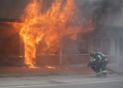 fighting a fire