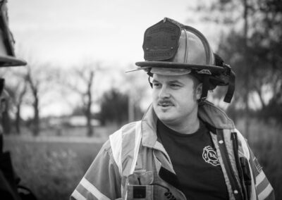 black and white photo of fireman