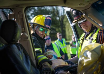fire department training- moving body into vehicle